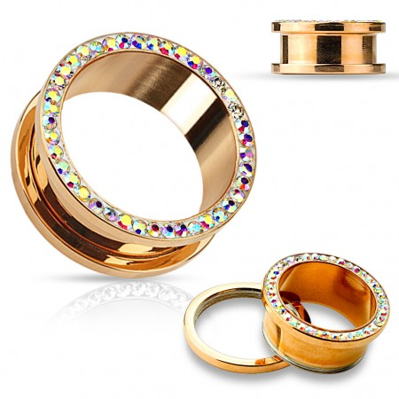 Rose gold plated screw-fit tunnel with rainbow crystals