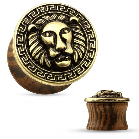 Double flared plug of wood with gold lion