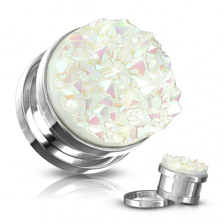 Screw fit plug with white druzy stone front