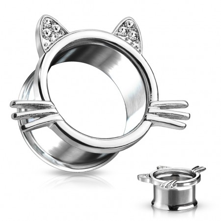 Double flared steel tunnel with cat figure and crystals