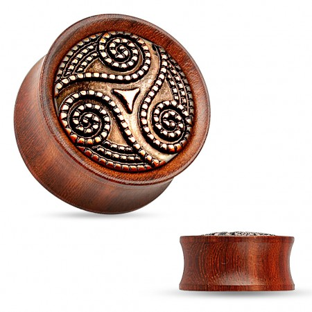 Double flared plug of rose wood with swirl