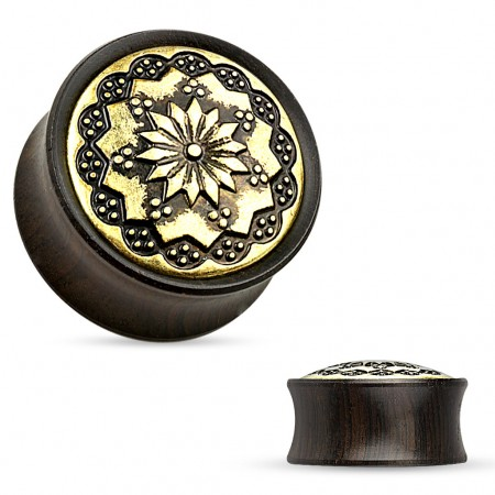 Double flared plug of Ebony with tribal flower