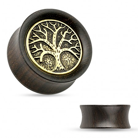 Ebony wood double flared plug with gold Tree of Life