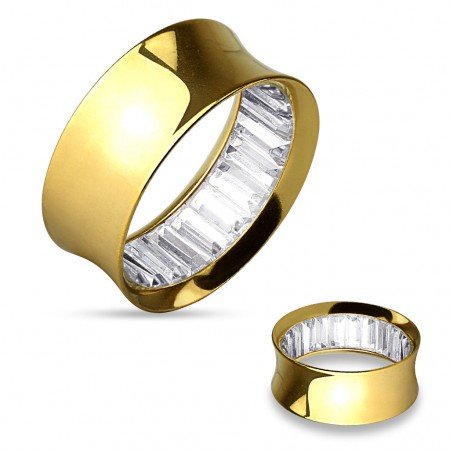 Gold plated double flared tunnel with gems inside