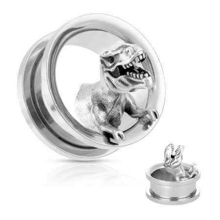Surgical Steel screw fit tunnel with T-Rex figure