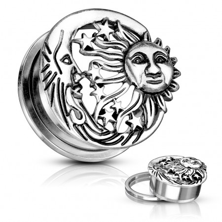 Moon, star and sun silver screw fit plug