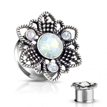 Double flared tunnel with floral encased opal stone