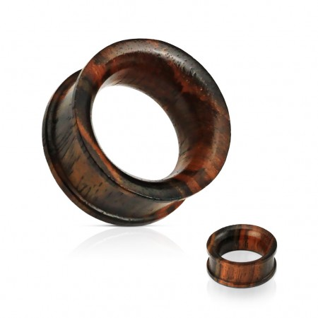 Double flared ear tunnels made of Sono wood