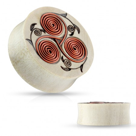 Wooden plug with Tribal flower pattern