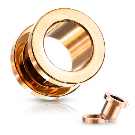 Rose gold screw-fit flesh tunnel with flattened rim