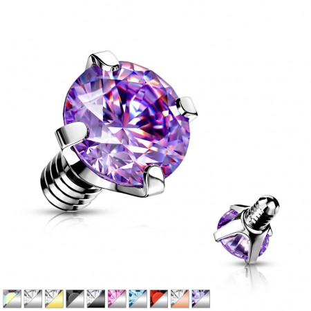 Internally threaded piercing top with coloured prong set crystal