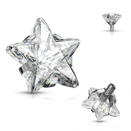 Internally threaded piercing top with prong set star crystal