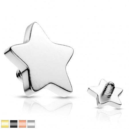 Internally threaded coloured flat star top of surgical steel
