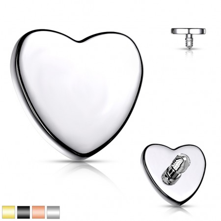 Internally threaded coloured flat heart top of surgical steel