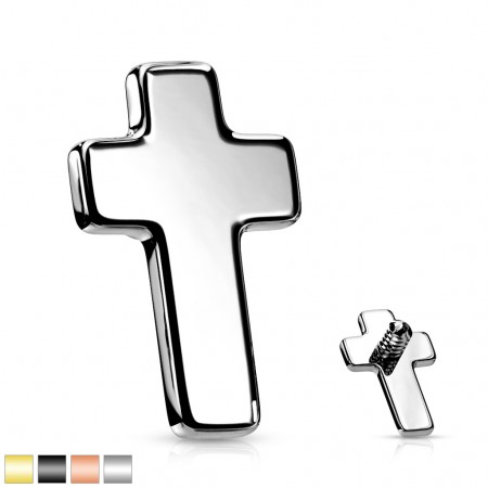 Internally threaded coloured cross top of surgical steel