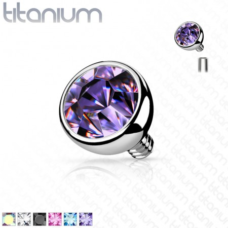 Internally threaded solid titanium piercing top with crystal