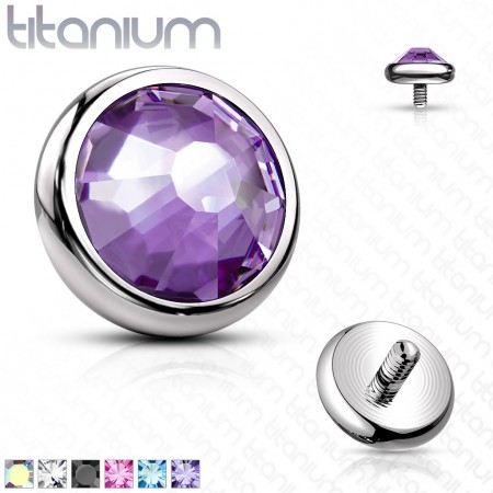 Internally threaded solid titanium disc piercing top with crystal