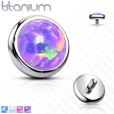 Internally threaded titanium piercing disc top with opal stone