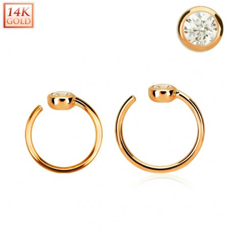 14 Kt. rosé gold nose ring with clear crystal end
