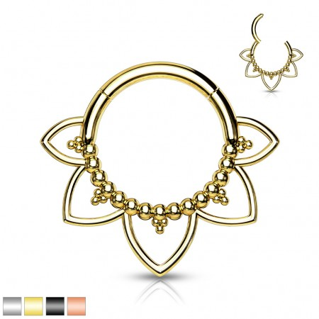 Surgical Steel Hinged Segment Ring with Balls and Filigree