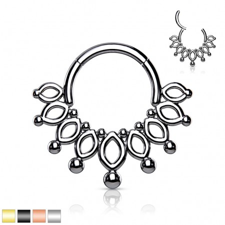 Surgical Steel Hinged Segment Ring with Crown Figure
