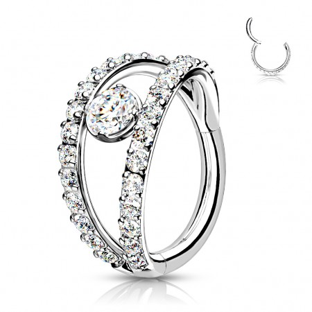 Surgical Steel Segment Ring with Split Crystal Paved Rows and Crystal