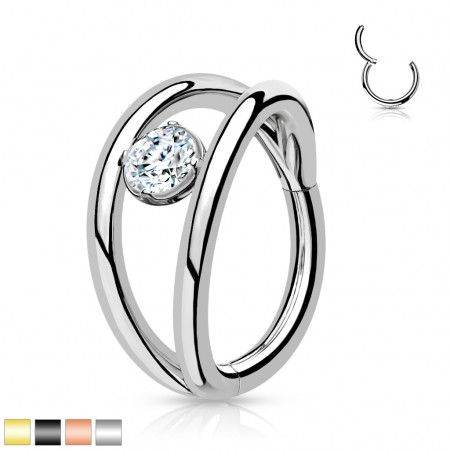Coloured Segment Ring with Split Lines and Crystal