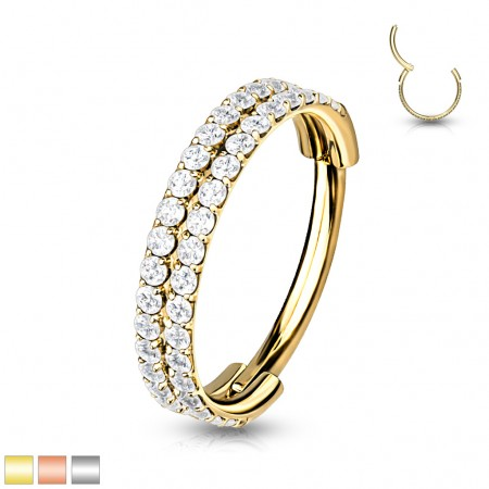 Surgical Steel Segment Ring with Two Rows of Crystals