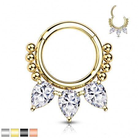 Surgical Steel Segment Ring with Balls and Three Teardrop Shaped Stones