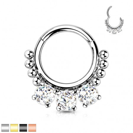 Surgical Steel Segment Ring with Balls and Three Big Crystals