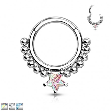 Surgical Steel Segment Ring with Balls and Star Crystal