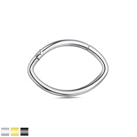 Coloured oval shaped piercing ring with attached segment