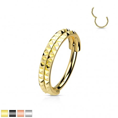 Piercing ring with attached segment and 3 prong set crystals