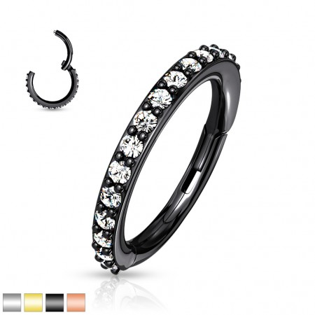Coloured piercing attached segment ring paved with clear crystals