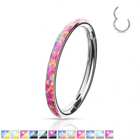 Coloured piercing ring with attached segment and opal outer side
