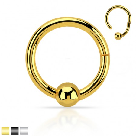 Coloured hinged ball closure click ring with fixed ball
