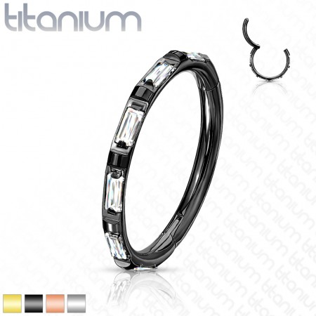 Titanium piercing ring with attached segment and rectangular crystals