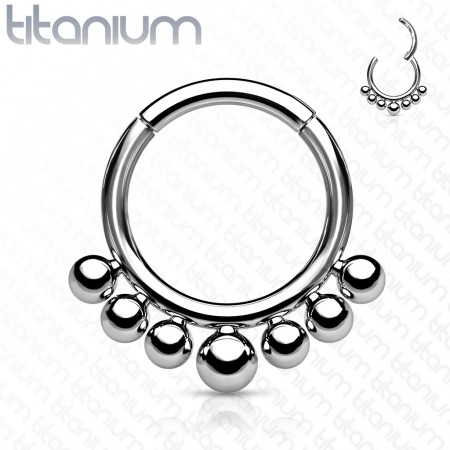 Titanium piercing ring with attached segment and 7 beads