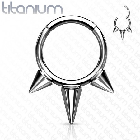 Titanium piercing ring with attached segment and spikes