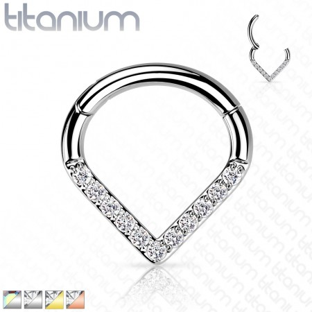 Tear Shaped Titanium Hinged Segment Hoop with Coloured Crystals