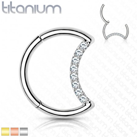Titanium crescent shaped piercing ring with attached segment and crystals