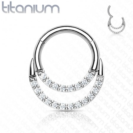 Titanium piercing ring with attached segment and 2 crystal layers
