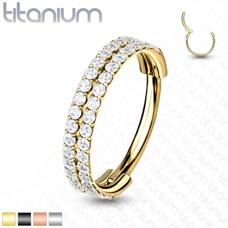 Titanium Hinged Segment Ring with Two Rows of Crystals