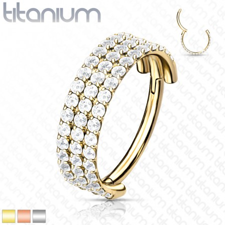 Titanium Hinged Segment Ring with Three Rows of Crystals
