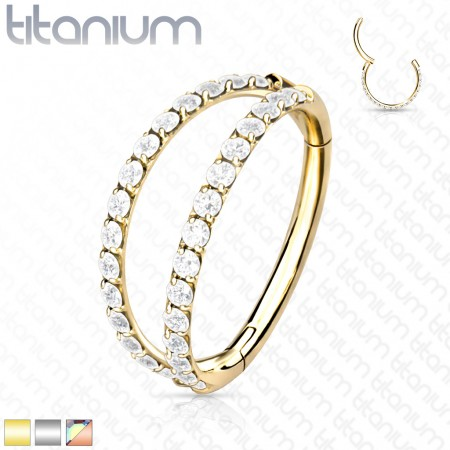 Titanium Hinged Segment Ring with Split Crystal Paved Rows