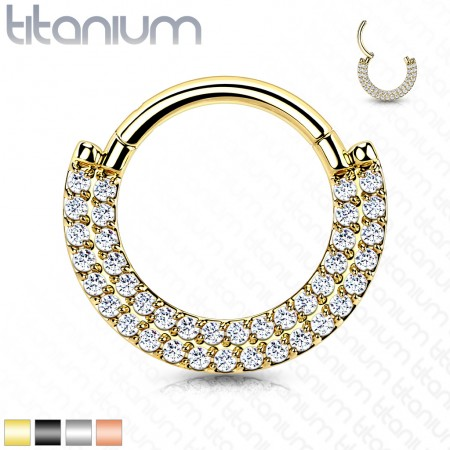 Titanium Hinged Segment Hoop with Double Front-Facing Crystals Rows