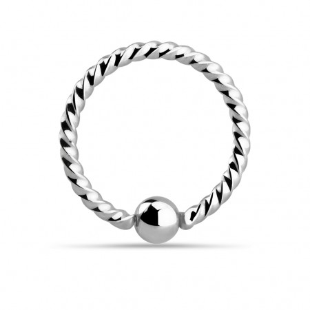 Surgical steel ball closure ring with a twist