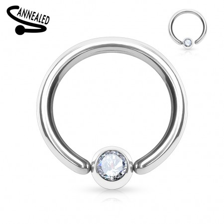 Captive bead ring with crystalised bead attachment