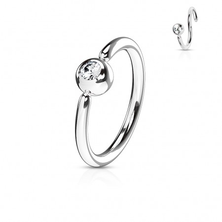 Piercing ring with fixed ball and clear crystal