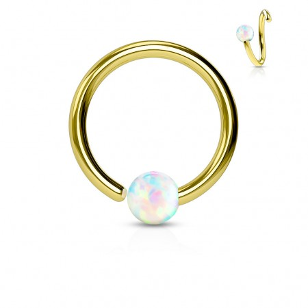 Golden piercing ring with fixed white opal ball